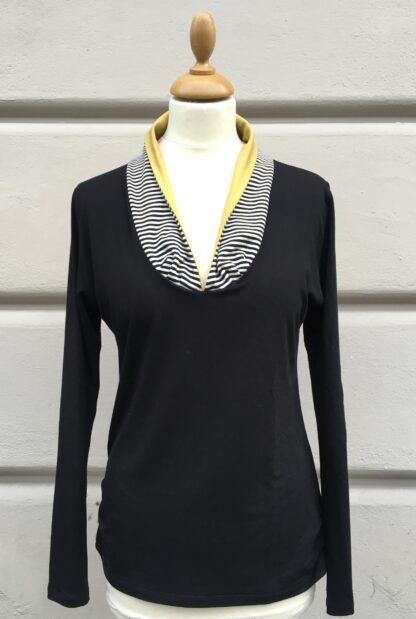 Shirt CHARLIE, Schalkragen, Colorblock, Schwarz-Weiß, Viskosejersey, Businessmode, Berliner Design