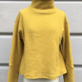 Pullover ODA, Stehkragen, Senfgelb, GOTS-Baumwolle, Cordoptik, Berliner Design