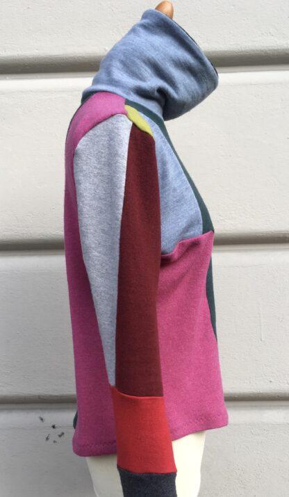 Pullover SMART, Rollkragen, Upcycling, Patchwork, Merinojersey, Berliner Design